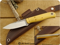 Fiddleback Forge (Andy Roy) Custom Hiking Buddy (Partial Convex Grind, Tapered Tang) Fixed Blade, Hunting / Camping / Outdoor / Bushcraft / Collector Knife w/ Osage Orange Handle & Thin Natural & Thin Blue Liners - #5
