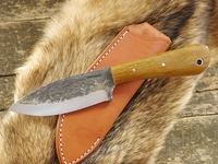 Lon Humphrey Custom Brute de Forge, (Tapered Tang) Fixed Blade, Hunting / Camping / Outdoor / Bushcraft / Collector Knife w/ Lignum Vite Handle & Black Liners, #1