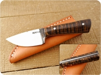 Lon Humphrey Custom Brute de Forge Whitetail (Full Flat Grind) (Tapered Tang) Fixed Blade, Hunting / Every Day Carry / General Purpose / Utility / Collector Knife w/ Fiddleback Maple Handle & Black Liners, #1