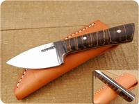 Lon Humphrey Custom Brute de Forge Whitetail (Full Flat Grind) (Tapered Tang) Fixed Blade, Hunting / Every Day Carry / General Purpose / Utility / Collector Knife w/ Fiddleback Maple Handle & Black Liners, #10