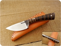 Lon Humphrey Custom Brute de Forge Whitetail (Full Flat Grind) (Tapered Tang) Fixed Blade, Hunting / Every Day Carry / General Purpose / Utility / Collector Knife w/ Fiddleback Maple Handle & Black Liners, #2