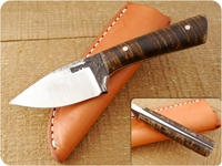 Lon Humphrey Custom Brute de Forge Whitetail (Full Flat Grind) (Tapered Tang) Fixed Blade, Hunting / Every Day Carry / General Purpose / Utility / Collector Knife w/ Fiddleback Maple Handle & Black Liners, #3