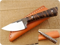 Lon Humphrey Custom Brute de Forge Whitetail (Full Flat Grind) (Tapered Tang) Fixed Blade, Hunting / Every Day Carry / General Purpose / Utility / Collector Knife w/ Fiddleback Maple Handle & Black Liners, #4