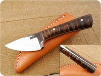 Lon Humphrey Custom Brute de Forge Whitetail (Full Flat Grind) (Tapered Tang) Fixed Blade, Hunting / Every Day Carry / General Purpose / Utility / Collector Knife w/ Fiddleback Maple Handle & Black Liners, #7
