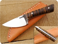 Lon Humphrey Custom Brute de Forge Whitetail (Full Flat Grind) (Tapered Tang) Fixed Blade, Hunting / Every Day Carry / General Purpose / Utility / Collector Knife w/ Fiddleback Maple Handle & Black Liners, #8