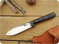 Lon Humphrey Custom Kephart (Flat Grind) Fixed Blade, Bushcraft / Hunting / General Purpose / Utility / Collector Knife w/ Black Canvas Micarta Handle