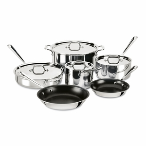 All-Clad Stainless Steel 10-Pc Nonstick Set - 401488NSR-R