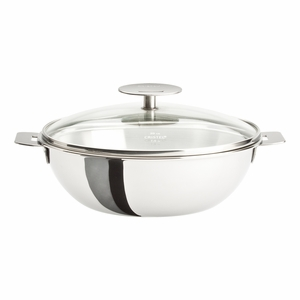 Cristel Casteline Removable Handle - 3 Qt Wok w/Lid - WOKT24QKP