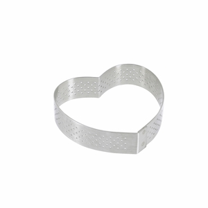 "de Buyer 3-1/8"" Heart Stainless Steel Perforated Tart Ring - 3099.50"