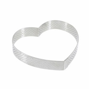"de Buyer 4-3/4"" Heart Stainless Steel Perforated Tart Ring - 3099.51"