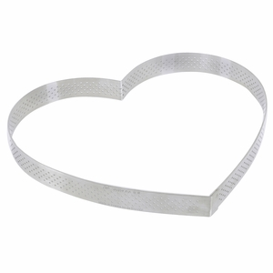 "de Buyer 8-5/8"" Heart Stainless Steel Perforated Tart Ring - 3099.53"