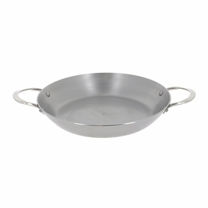 "de Buyer Mineral B Element 12-1/2"" Round Steel Paella Pan w/2 Stainless Steel Handles - 5652.32"