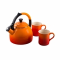 Le Creuset 1.7 Qt. Peruh Kettle and Mug Set - Flame - Q12-KM3-2