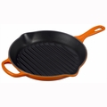 "Le Creuset 10 1/4"" Signature Round Skillet Grill - Flame - LS2023-262"
