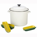 Le Creuset 12 Qt. Sweet Corn Stockpot Set (Includes 4 Stoneware Corn Holders) - N41SC4-2616