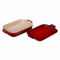 "Le Creuset 14 3/4"" x 9"" x 2 1/2"" Rectangular Dish with Platter Lid - Cherry - PG2015-1367"