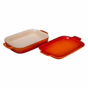 """Le Creuset 14 3/4"""" x 9"""" x 2 1/2"""" Rectangular Dish with Platter Lid - Flame - PG2015-132"""
