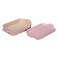 "Le Creuset 14 3/4"" x 9"" x 2 1/2"" Rectangular Dish with Platter Lid - Hibiscus - PG2015-1314"