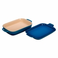 "Le Creuset 14 3/4"" x 9"" x 2 1/2"" Rectangular Dish with Platter Lid - Marseille - PG2015-1359"