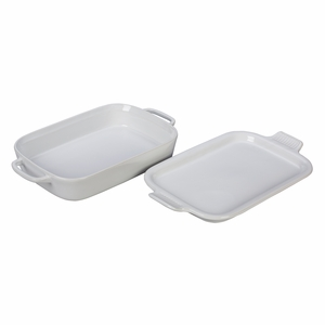 """Le Creuset 14 3/4"""" x 9"""" x 2 1/2"""" Rectangular Dish with Platter Lid - White - PG2015-1316"""
