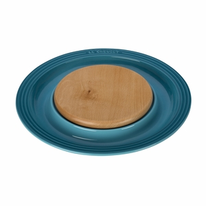 """Le Creuset 15"""" Round Platter w/Cutting Board - Caribbean - PG6390CB-3717"""