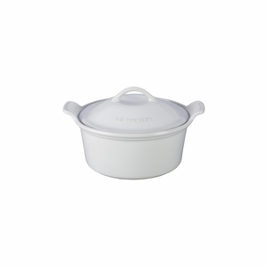 "Le Creuset 18 oz. (6 1/4"") Heritage Covered Cocotte - White - PG1560-1316"