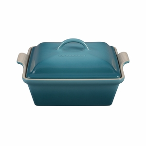 "Le Creuset 2 1/2 Qt. (9"") Heritage Covered Square Casserole - Caribbean - PG0805-2317"