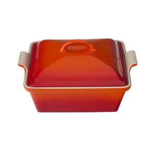 """Le Creuset 2 1/2 Qt. (9"""") Heritage Covered Square Casserole - Flame - PG0805-232"""