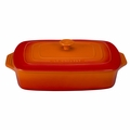 "Le Creuset 3 1/2 Qt. (12 1/2"" x 8 1/2"") Covered Rectangular Casserole - Flame - PG1148S-322"