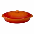 "Le Creuset 3 3/4 Qt. (14"") Covered Oval Casserole - Flame - PG1140S-362"