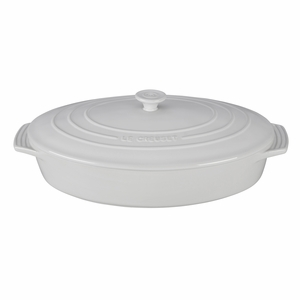 "Le Creuset 3 3/4 Qt. (14"") Covered Oval Casserole - White - PG1140S-3616"