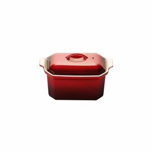 "Le Creuset 3/4 Qt. (8"" x 5"") Heritage Pate Terrine with Press - Cherry - PG0900-2067"