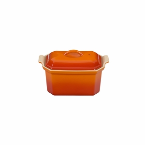 "Le Creuset 3/4 Qt. (8"" x 5"") Heritage Pate Terrine with Press - Flame - PG0900-202"