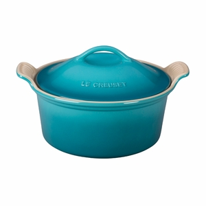 """Le Creuset 3 Qt. (9"""") Heritage Covered Round Casserole - Caribbean - PG0550-2317"""