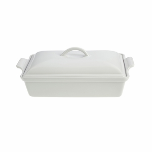 "Le Creuset 4 Qt. (12"" x 9"") Heritage Covered Rectangular Casserole - White - PG0705-3316"