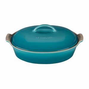 """Le Creuset 4 Qt. (14"""") Heritage Covered Oval Casserole - Caribbean - PG0405-3617"""