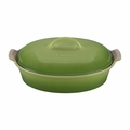 "Le Creuset 4 Qt. (14"") Heritage Covered Oval Casserole - Palm - PG0405-364P"