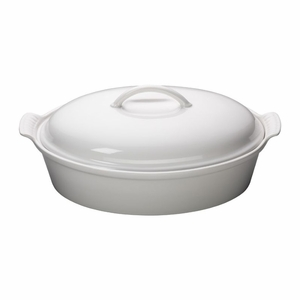 """Le Creuset 4 Qt. (14"""") Heritage Covered Oval Casserole - White - PG0405-3616"""