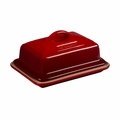 """Le Creuset 6 3/4"""" x 5"""" Heritage Butter Dish - Cherry - PG0307-1767"""