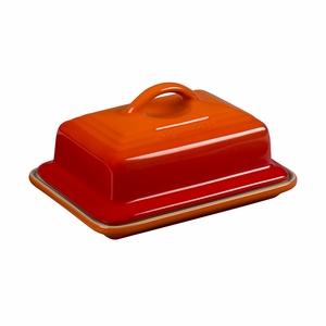 """Le Creuset 6 3/4"""" x 5"""" Heritage Butter Dish - Flame - PG0307-172"""