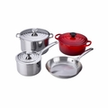 Le Creuset 7PC Stainless Steel & Enameled Cast Iron Cookware Set - Cherry - SS14SS7-67