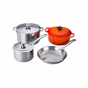 Le Creuset 7PC Stainless Steel & Enameled Cast Iron Cookware Set - Flame  - SS14SS7-2