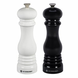 "Le Creuset 8"" x 2 1/2"" Salt and Pepper Mill Set - Black and White - MG610-BW"