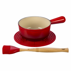 Le Creuset BBQ Sauce Pot Set: 1-1/8 Qt. Open Sauce Pot, Silicone Trivet, Revolution Silicone Basting Brush - Cherry - MM1603-67