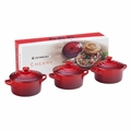 Le Creuset Mini Cocotte Gift Set - Set of 3 Solids (8 oz. each) - Cherry - PG1163-0867