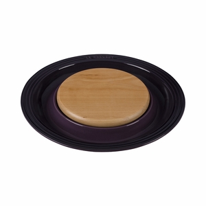 "Le Creuset 15"" Round Platter w/Cutting Board - Cassis - PG6390CB-3772"