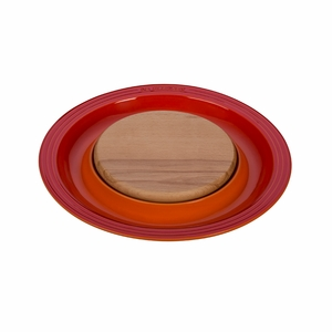 """Le Creuset 15"""" Round Platter w/Cutting Board - Flame - PG6390CB-372"""