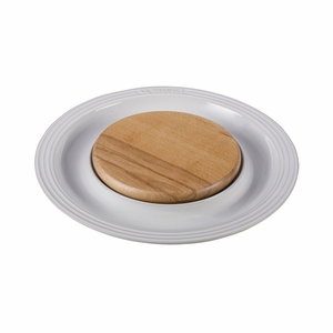 """Le Creuset 15"""" Round Platter w/Cutting Board - White - PG6390CB-3716"""