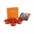 Le Creuset Set of 4 Mini Cocottes with Mini-Cocotte Cookbook (8 oz. each) - Flame - PG1164CB-082