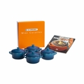 Le Creuset Set of 4 Mini Cocottes with Mini-Cocotte Cookbook (8 oz. each) - Marseille - PG1164CB-0859